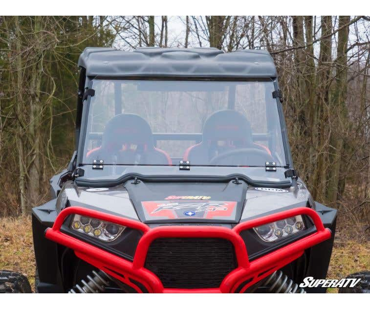 SuperATV Polaris RZR 900 Flip Fold Down Clear Scratch Resistant Windshield