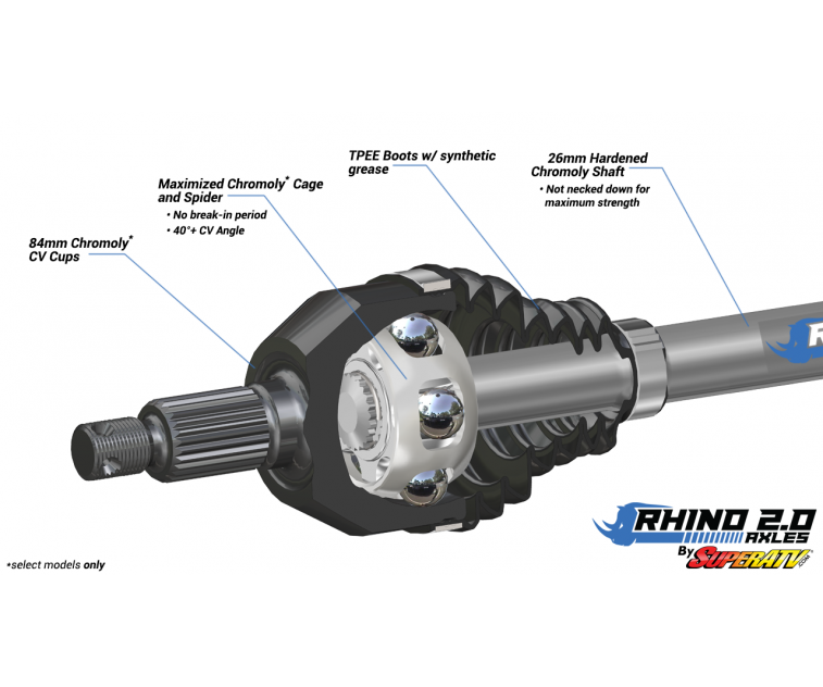 Upgrade From Your OEM Axle! - Stock Length FRONT LEFT Axle 2011-2016 SuperATV Heavy Duty Rhino Brand Front Left CV Axle for Can-Am Commander 800//1000 // Max