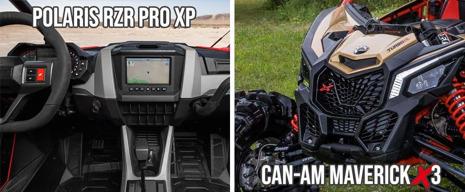 A RZR Pro XP cab and Maverick X3
