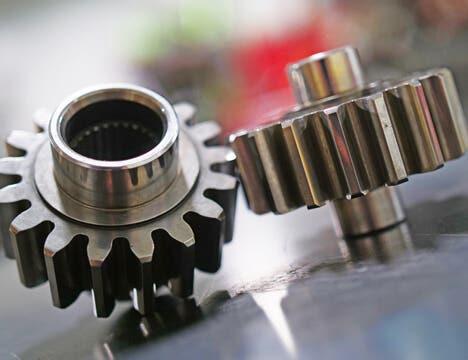 Closeup of two billet aluminum gears