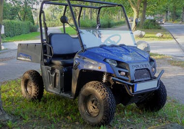 Blue Electric Polaris Ranger EV UTV