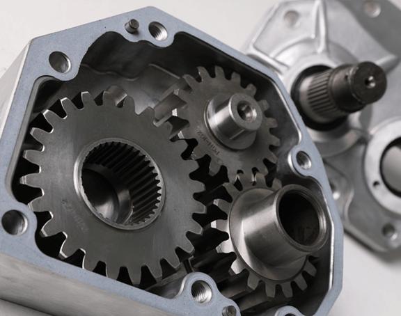 Closeup view of the gears in a Gen 3 4 inch portal gear lift