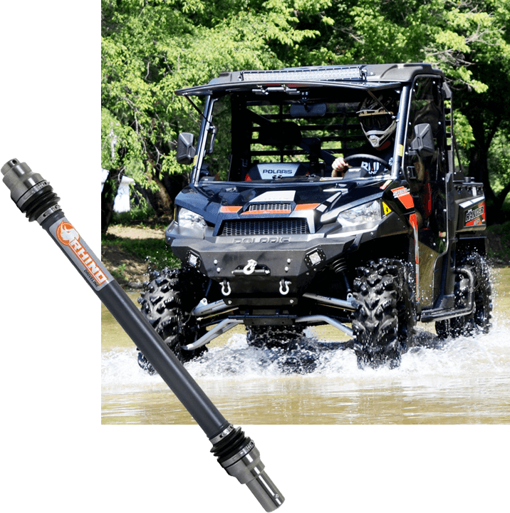 UTV riding through the water with Rhino Driveline C-Series Prop Shaft Superimposed