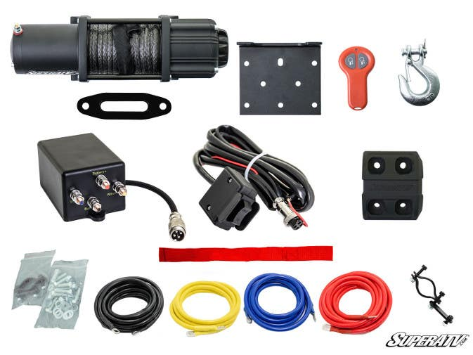 Black ops winch components including wiring, remote, rocker switch, solenoid and clevis hook.