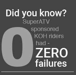 Did you know that SuperATV sponsed KOH riders had zero failures