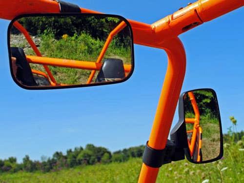 Close up of SuperATVs stylish, UTV rearview mirror