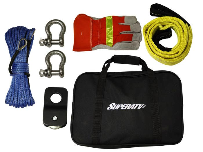 SuperATV Winch Kit includes gloves D-rings extra rope and tree saver strap